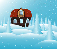 Vector brick house and snowy landscape, Merry Christmas illustration Royalty Free Stock Image