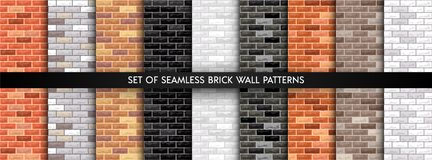 Vector brick wall set royalty free illustration