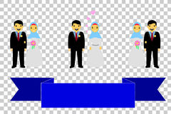 Bride couple muslim and muslimah, islam people, with blue Ribbon, at transparent effect background