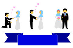 Bride couple muslim and muslimah, islam people, with blue Ribbon, at white background