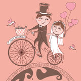 Vector The bride and groom on a bicycle on a background. Newlyweds on a bike ride on a honeymoon/Newlyweds bike/The bride and groom on a bicycle on a background royalty free illustration