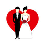 Vector Bride and Groom with Heart Illustration Royalty Free Stock Photography