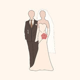 Vector bride and groom pastel silhouettes Stock Photography