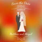 Vector bride and groom pastel silhouettes over colorful blurred background. Royalty Free Stock Photos