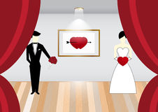 Vector Bride and Groom on stage Illustration Stock Photography