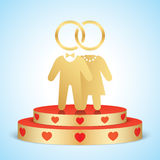 Vector bride and groom standing on a golden stage. Stock Photography