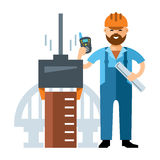Vector Bridge builder. Flat style colorful Cartoon illustration. Royalty Free Stock Image
