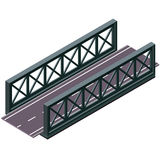 Vector bridge in isometric 3d perspective  on white background, with asphalt road. Vector bridge in isometric 3d perspective  on white background. Industrial Stock Photos