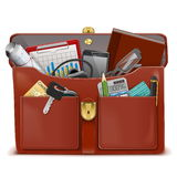 Vector Briefcase with Accessories Royalty Free Stock Photos