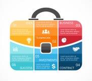 Vector briefcase infographic. Template for bag Stock Photos