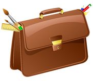 Vector briefcase with pencils and brushes. Royalty Free Stock Image