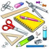 Vector Briefpapier für Schule und Student, Notizbuch mit Stift, Markierung und Scheren Stockbilder