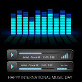 Vector bright audio player with control navigation panel Stock Photo