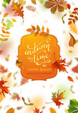 Vector bright autumn leaves fall down. Royalty Free Stock Photo