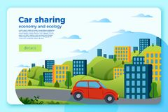 Vector bright car share ride banner template. City and green hills on a bright blue background Stock Image
