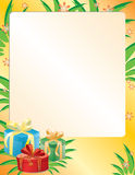 Vector bright card with boxes. Bright card with boxes and leaves Royalty Free Stock Image