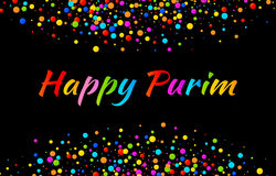 Vector Bright Card Happy Purim carnival text with colorful shiny paper confetti frame isolated on black background. Vector Bright Horizontal Card Happy Purim Royalty Free Stock Image