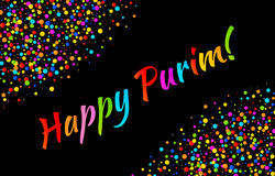 Vector Bright Card Happy Purim carnival text with colorful shiny paper confetti frame isolated on black background. vector illustration