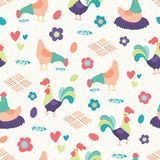 Vector Bright Chickens White Background Seamless Pattern Background. vector illustration