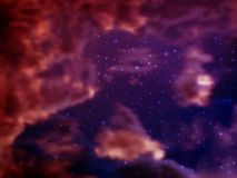 Vector bright colorful cosmos illustration with clouds of cosmic dust and stars on a background. Bright shining Universe with flickering stars. Novel Royalty Free Stock Photo
