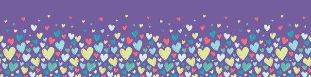 Vector Bright Colorful Hearts Purple Seamless Border Stock Photography