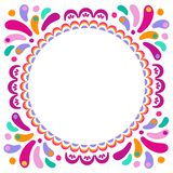 Vector bright colorful round frame for greeting cards. Decorative ethnic ornament for carnaval festivals, celebrations stock illustration