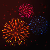 Vector Bright Fireworks. Vector Bright Colorful Fireworks on dark Stock Image