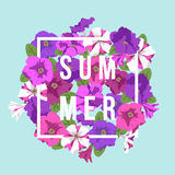 Vector bright floral composition with inscription. Vector summer floral background with inscription summer. The composition of bright summer lilac, purple and Stock Image