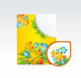 Vector bright folder and sticker Stock Image