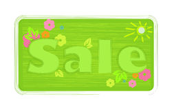 Vector bright green spring colors inscription word sale, painted with a brush on the label shtrihamii sun  Stock Photos
