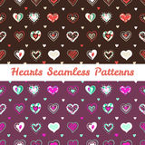Vector bright hand drawn doodle hearts St Royalty Free Stock Images