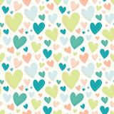 Vector Bright Hearts Green Peach Teal Seamless Pattern vector illustration