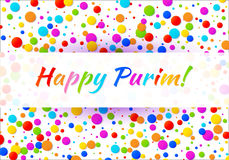 Vector Bright Horizontal Card Happy Purim carnival text with colorful rainbow colors paper confetti frame background. vector illustration
