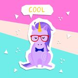 Vector bright illustration of cute hipster unicorn. Cut out style. Cartoon character for prints, templates, design elements for greeting cards, postcards Royalty Free Illustration