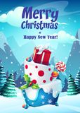 Vector bright illustration greeting card Merry Christmas stock illustration
