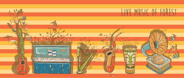 Vector bright illustration of live music with musical instrument. Vector illustration with piano, guitar, djembe drum, harp, saxophone, gramophone. Template for Stock Photos