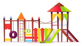 Vector bright playground for children. Game area vector illustration