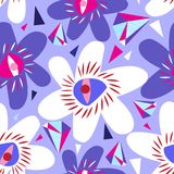 Vector bright seamless lilac pattern from different flowers Stock Image