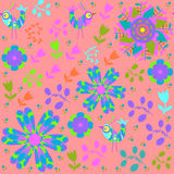 Vector bright  seamless pattern with cartoon bird  Royalty Free Stock Photo