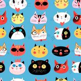 Vector bright seamless pattern of multi-colored cat portraits Royalty Free Stock Image