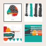 Vector bright set with bright colored square cards, isolated on background. Hand drawn illustration drawn with brush and ink splas. Hes, blots and smears Royalty Free Stock Photography