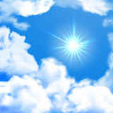 Vector bright sky whit sun and clouds Stock Image
