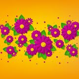 Vector bright spring floral background with 3d pink and purple cut out paper flowers. Bright spring floral background with 3d pink and purple cut out paper stock illustration
