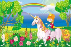 Sunny landscape with a girl riding a unicorn. Vector bright Sunny landscape with cartoon girl riding on a unicorn Stock Images