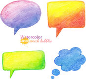 Vector bright watercolor pencils speech bubbles Stock Photos