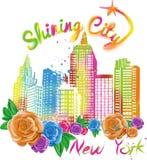 Vector brillante de la ciudad del ejemplo de Nueva York Fotos de archivo
