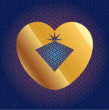 Vector Brilliant In Golden Heart Stock Photo