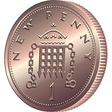 Vector British money, coin one pens Royalty Free Stock Images