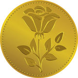 Vector British money gold coin with the rose flower. British money gold coin with the image ofthe rose flower (Rosa Tudor - the emblem of England Stock Image
