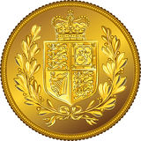 Vector British money gold coin Sovereign with the coat of arms. British money gold coin Sovereign with the image of a heraldic shield and crown, isolated on Royalty Free Stock Images